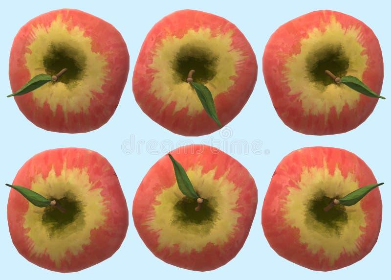 上面的例证在六个相同红色苹果下看法的  皇族释放例证