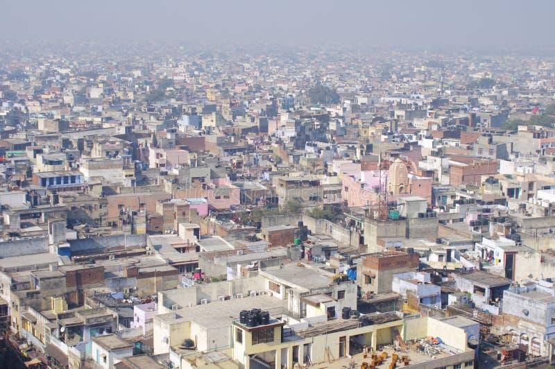 从上面的老德里市视图 免版税库存图片