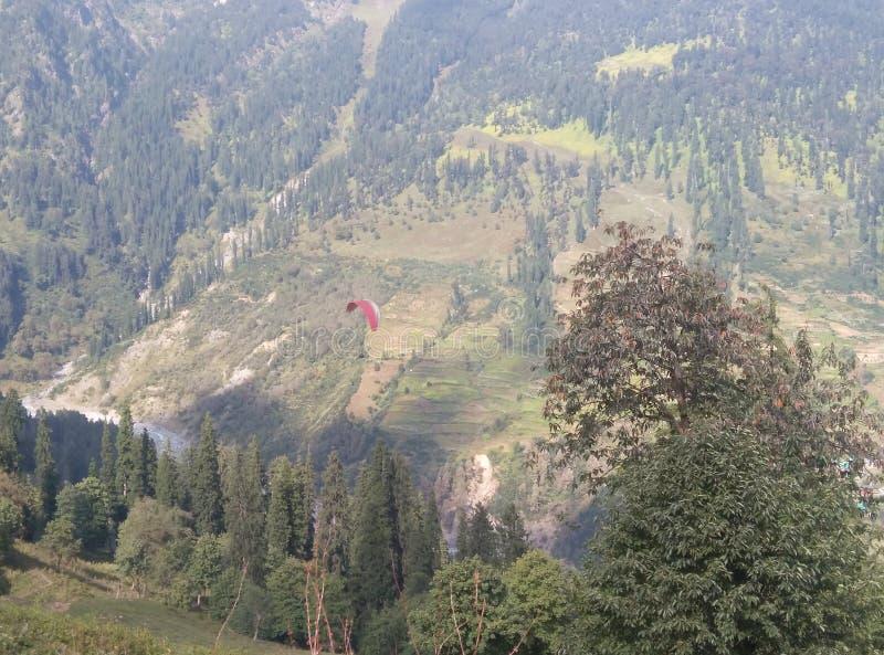 从上面的滑翔伞15000ft完善的视图 免版税库存照片