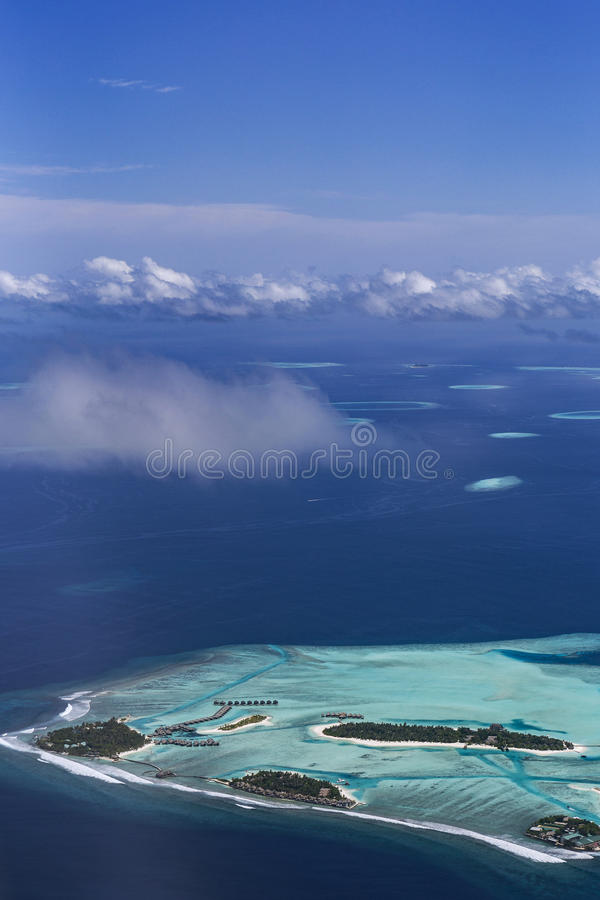 从水上飞机的鸟瞰图 免版税库存图片
