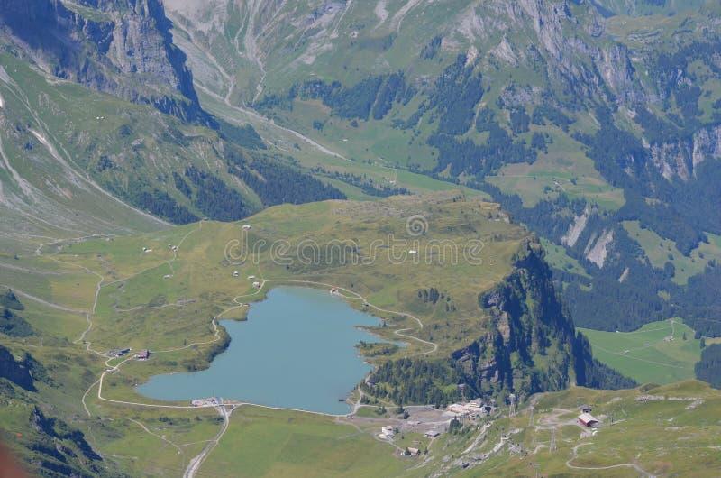 登上titlis的瑞士湖 库存照片