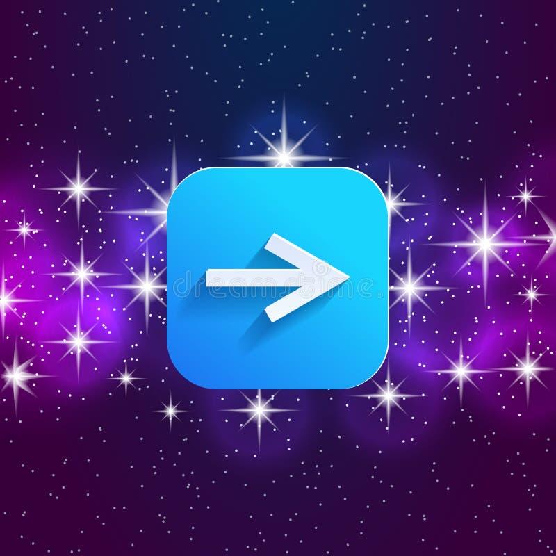 下个箭头象 向前标志 正确的方向标志 方形的象和星天空 库存例证