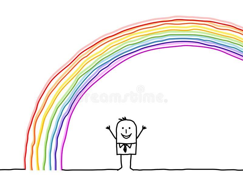 下人彩虹 向量例证