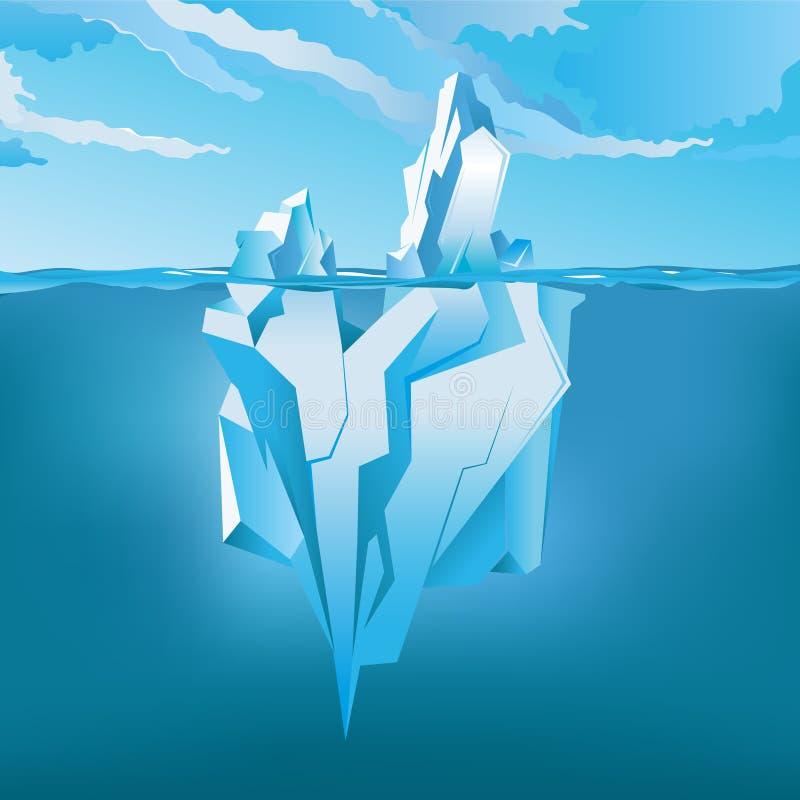 下冰山和水面上 也corel凹道例证向量 皇族释放例证