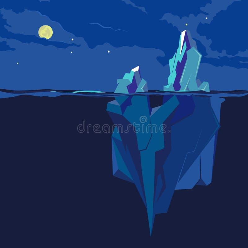 下冰山和水面上 也corel凹道例证向量 向量例证