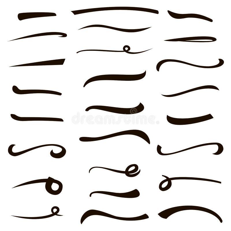 下划线 手拉的轮廓色_ 设置强调 乔迁庆宴海报的,贺卡,家墨水手工制造元素 向量例证