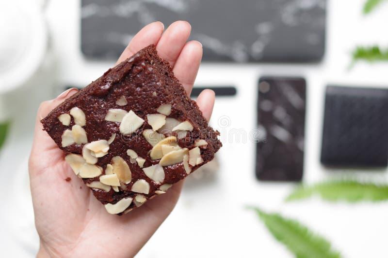 下午茶时可口的自制坚果巧克力蛋糕 一只漂亮的手 免版税库存图片