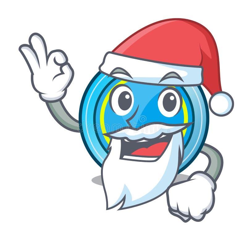 下圣诞老人的飞碟一张木动画片桌 库存例证