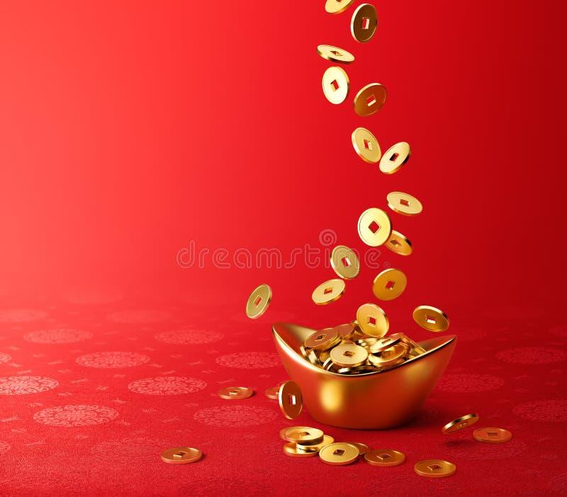滴下在金子Sycee -元宝山的金币 库存例证