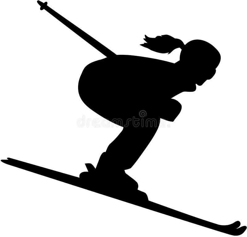 下坡女性滑雪者剪影 库存例证