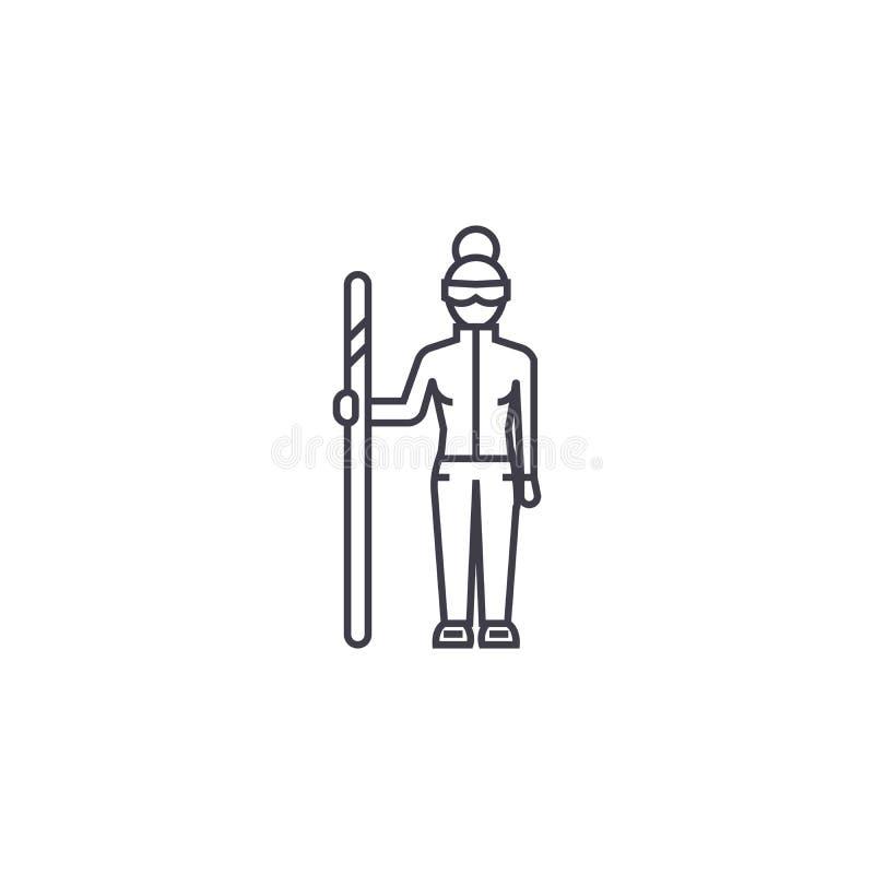 下坡滑雪者传染媒介线象,标志,在背景,编辑可能的冲程的例证 库存例证