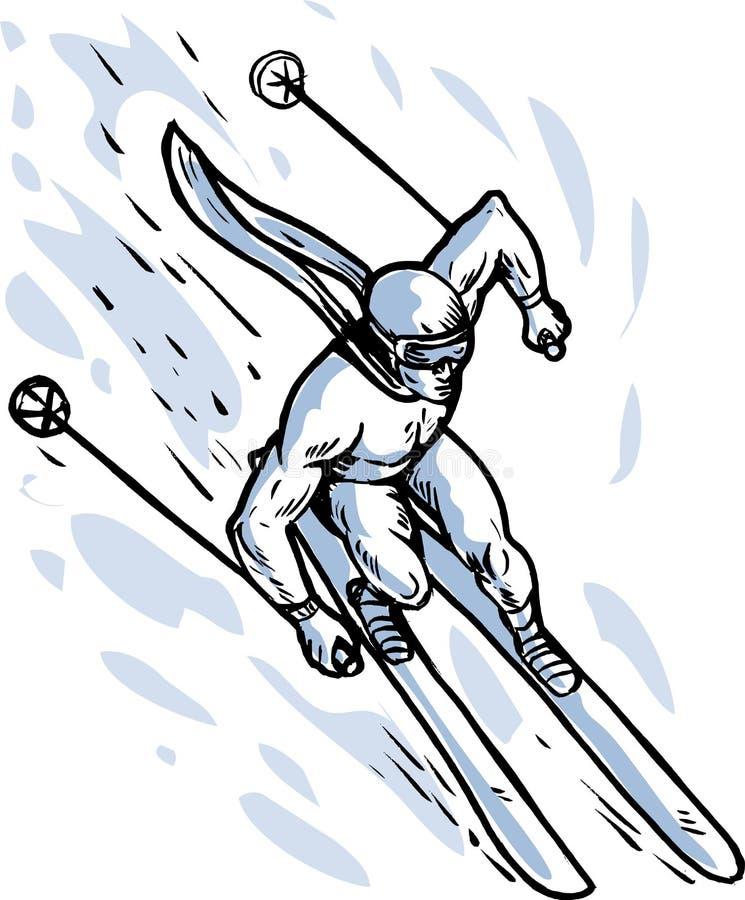 下坡滑雪者滑雪 向量例证