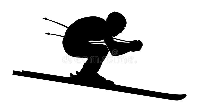 下坡运动员的滑雪者 库存例证
