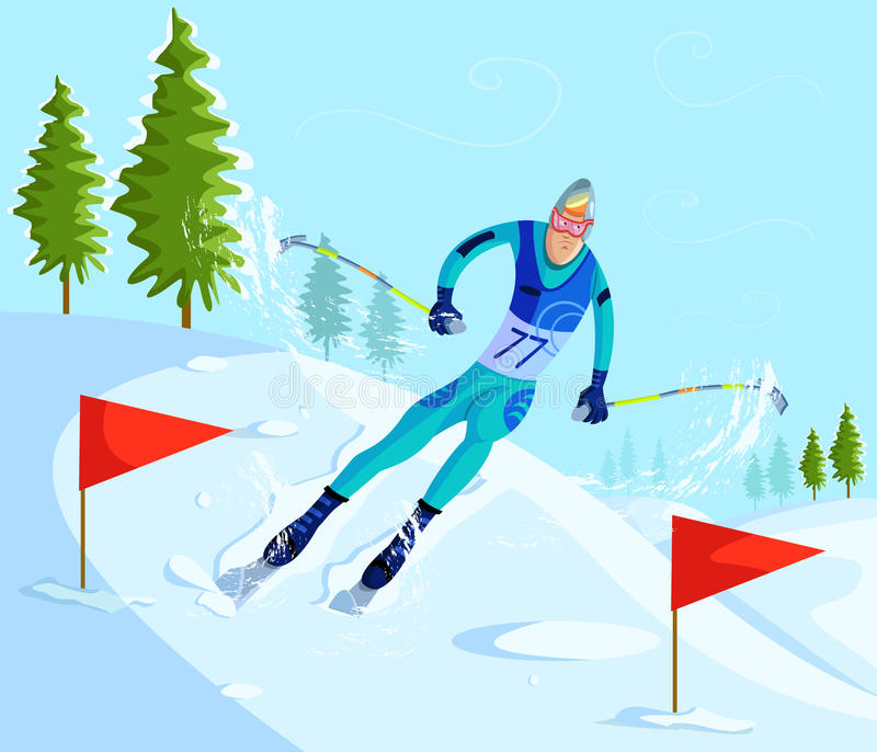 下坡滑雪者的滑雪 皇族释放例证