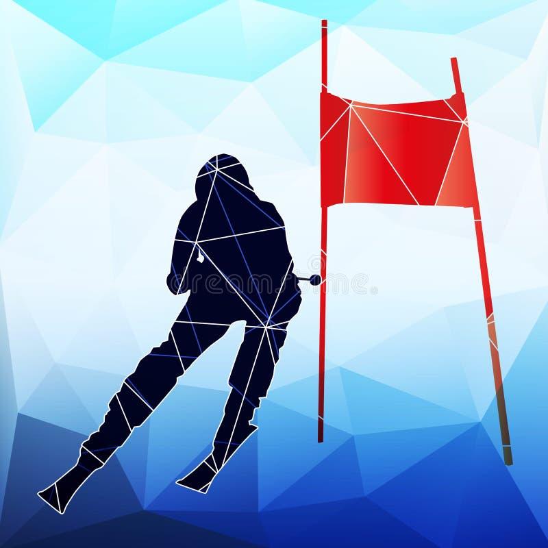 下坡滑雪者 三角抽象传染媒介剪影  库存例证