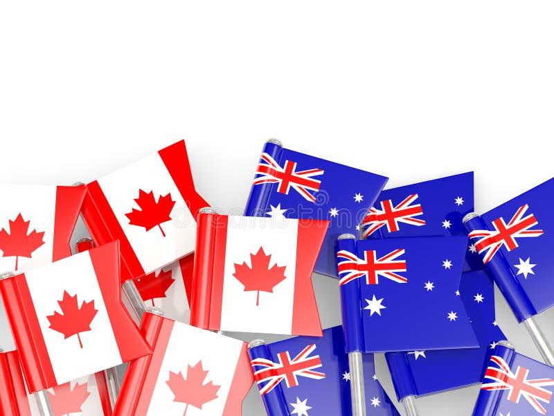 下垂加拿大和澳大利亚的别针白色的 3D illustra 皇族释放例证