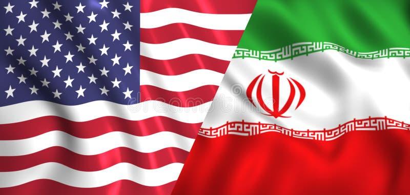 下垂挥动在风丝绸的美国和伊朗 皇族释放例证