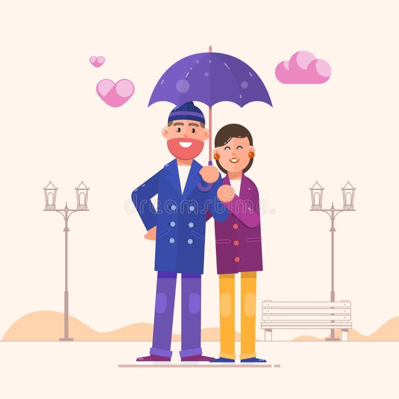 下夫妇爱恋的伞 在白色背景隔绝的愉快的家庭画象 红色上升了 皇族释放例证