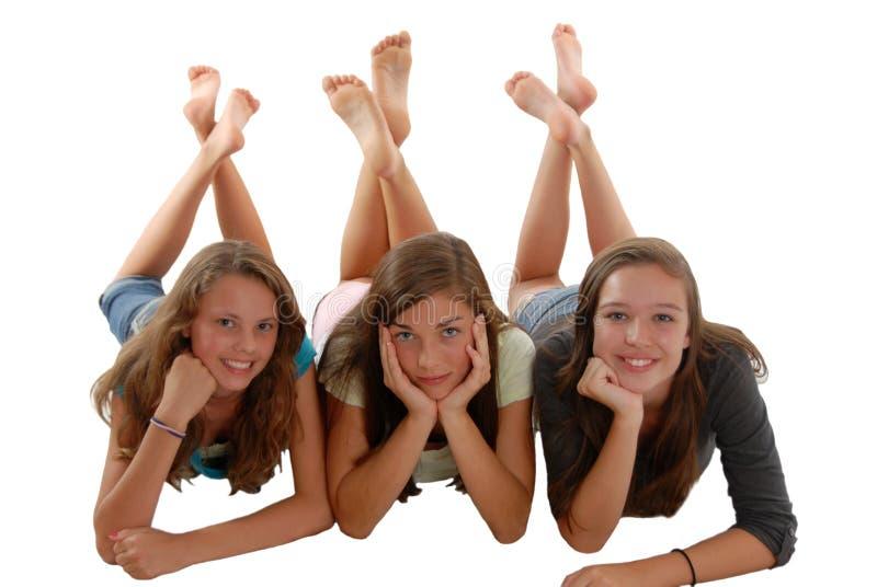 下巴楼层放置少年三的女孩现有量 库存图片