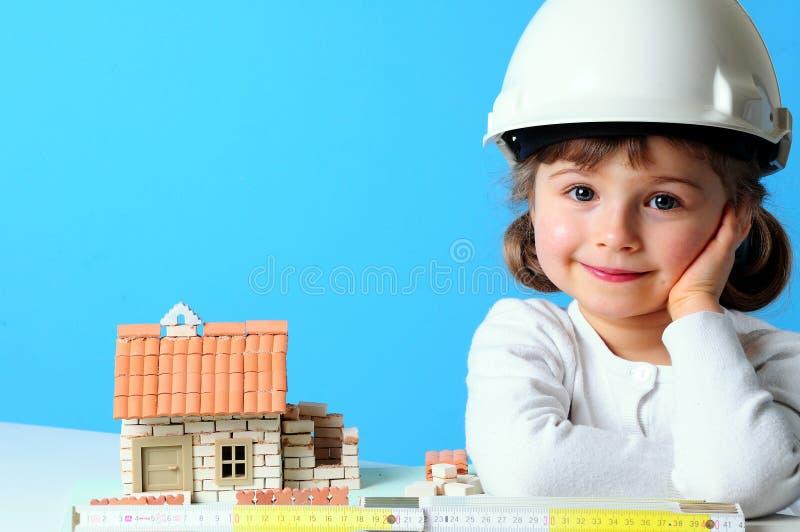 下建筑房子 免版税库存照片