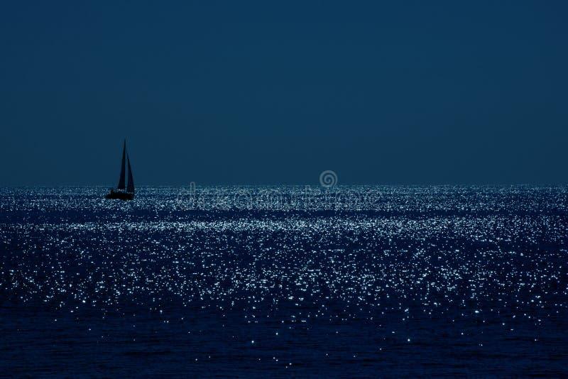 下月亮风船 图库摄影