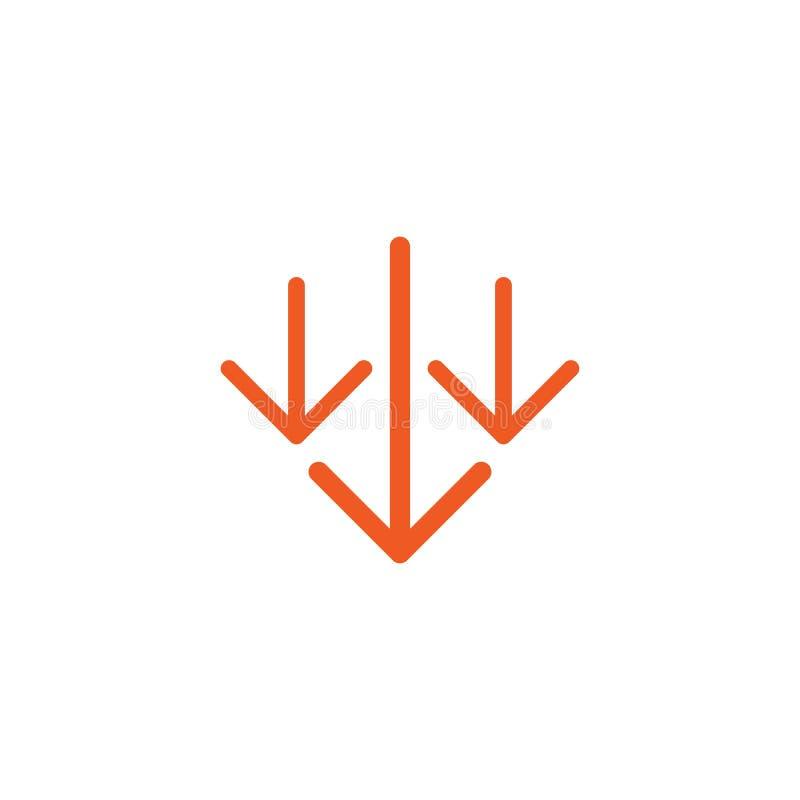 下来三个红色稀薄的箭头象 下载标志 秋天,在白色隔绝的减退标志 向量例证