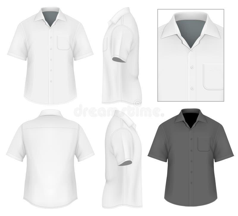 下来人的按钮衬衣设计模板 库存例证