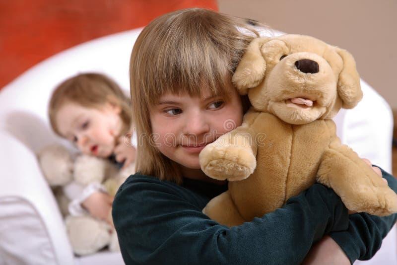 下来儿童s综合症状 库存照片