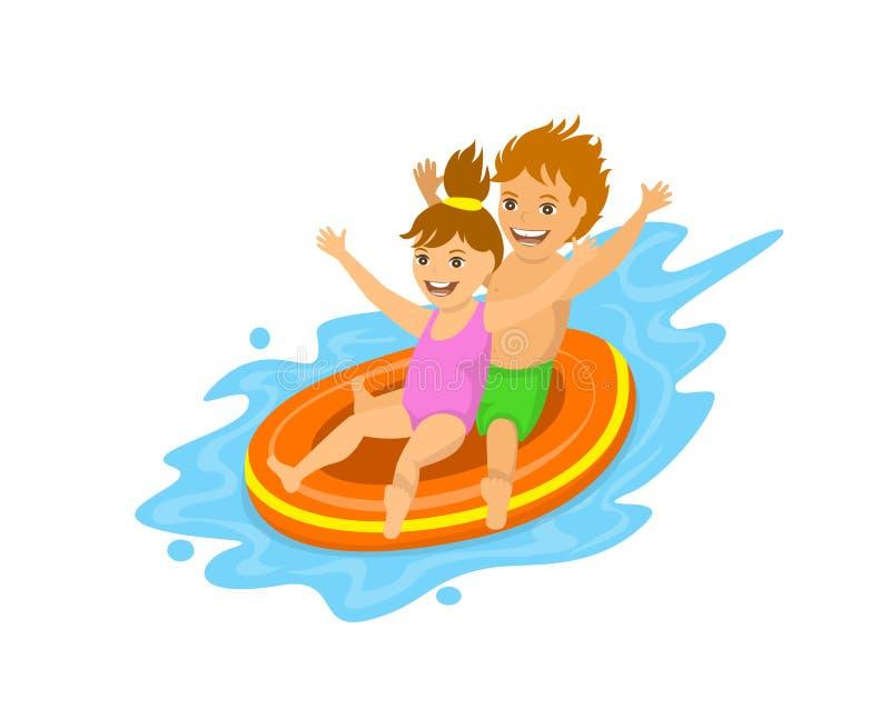 滑下来在waterpark的一支可膨胀的管的孩子 向量例证