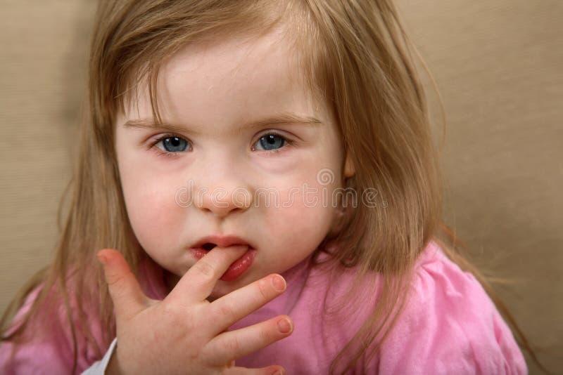 下来女孩综合症状 免版税库存照片