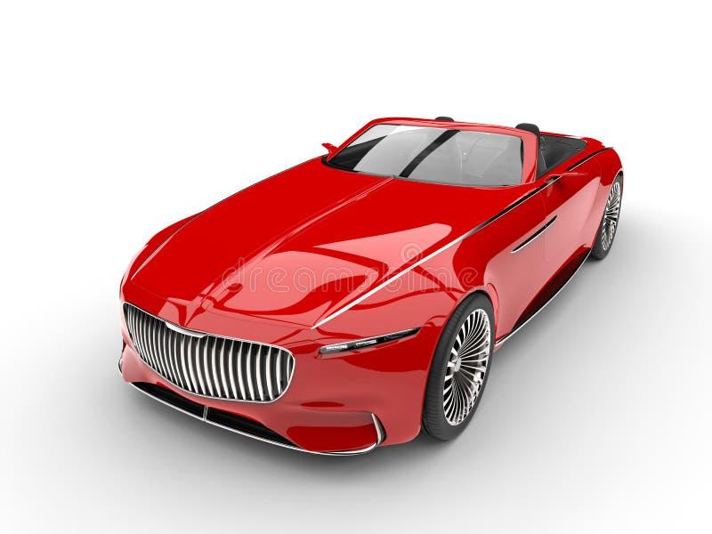 下来明亮的红色现代敞蓬车概念车的上面正面图 向量例证