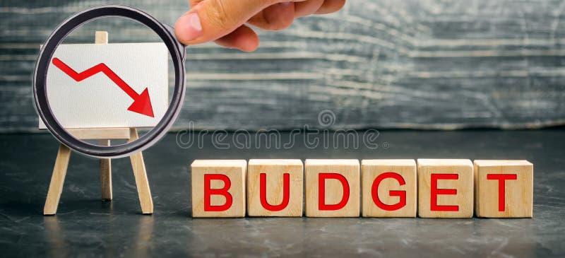 下来木块和题字预算和箭头 不成功的事务和贫穷 赢利衰落 投资损失  库存照片