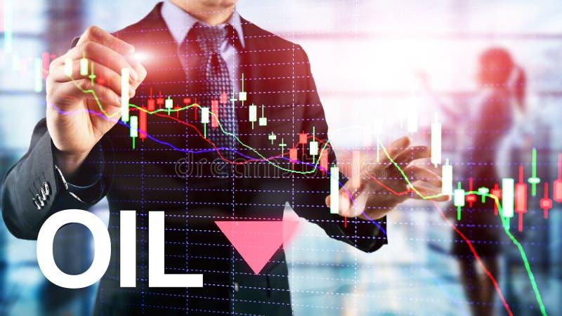 下来油趋向 蜡烛图表图油桶和一张财政图在抽象企业背景 下来价格油 向量例证