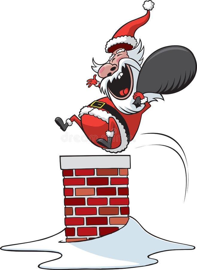 下来烟囱圣诞老人 库存例证