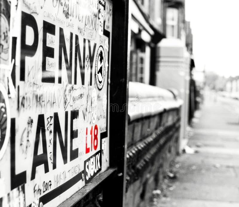 下来看法便士车道,利物浦,英国 库存图片