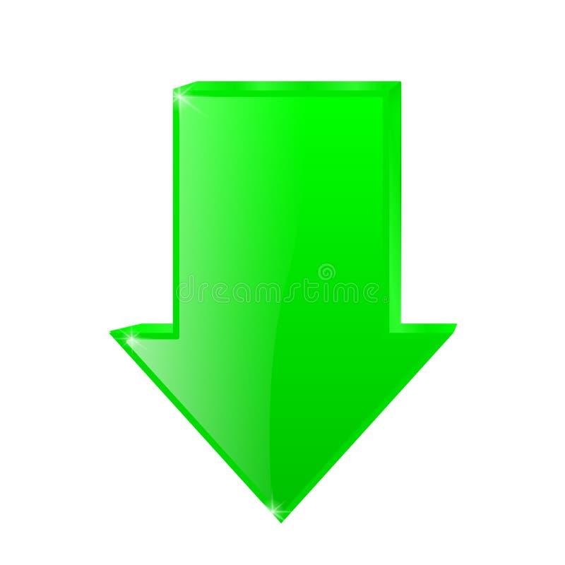 下来绿色箭头 皇族释放例证