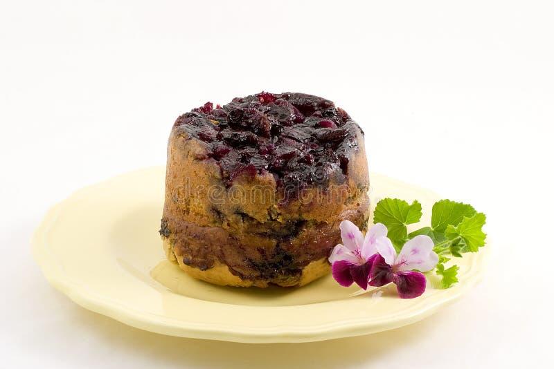 下来蓝莓蛋糕增长 免版税库存照片