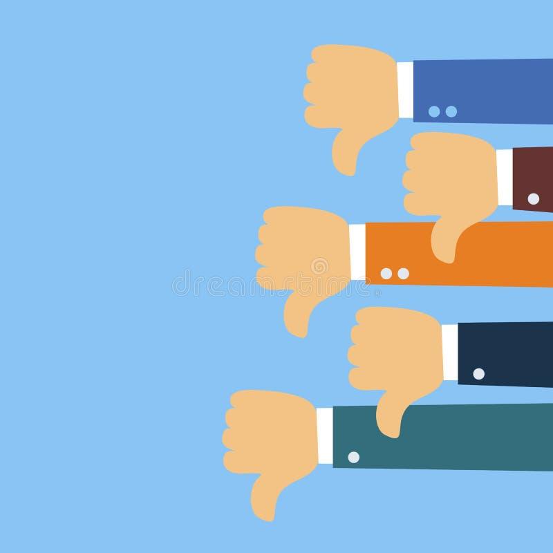 下来许多拇指 社会网络反感,不赞成,用户反映 库存例证