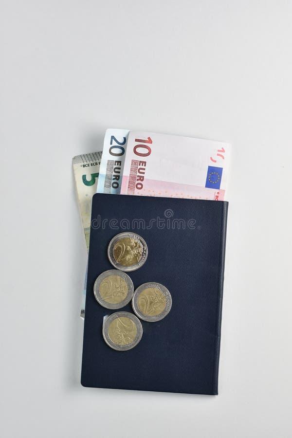下来面孔与欧洲人Curren的美利坚合众国护照 库存照片