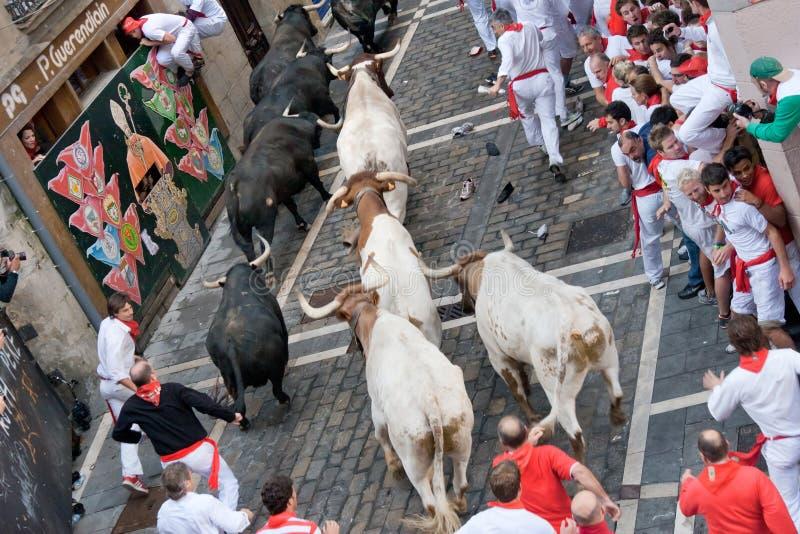 下来8头公牛7月潘普洛纳运行西班牙街 免版税库存照片