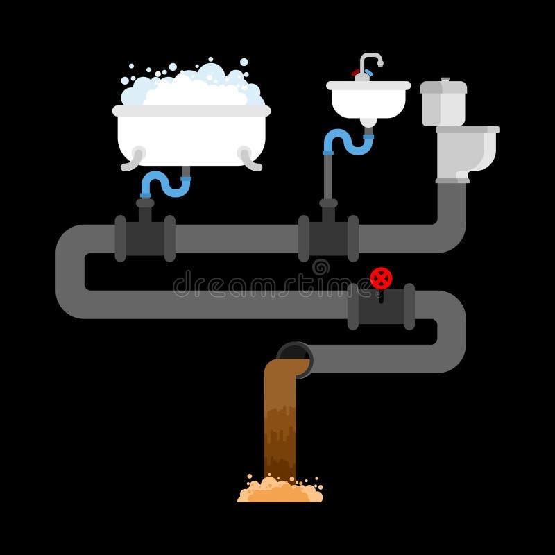 下水管道系统在房子里 用管道输送阀门 水槽和马桶 B 库存例证