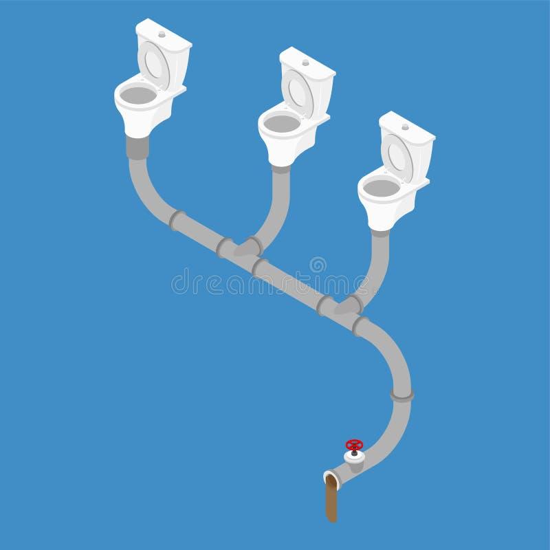 下水道系统等量样式 马桶和下水道 皇族释放例证