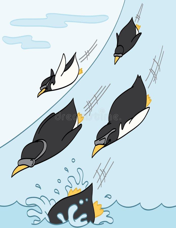 下滑的企鹅下坡 皇族释放例证