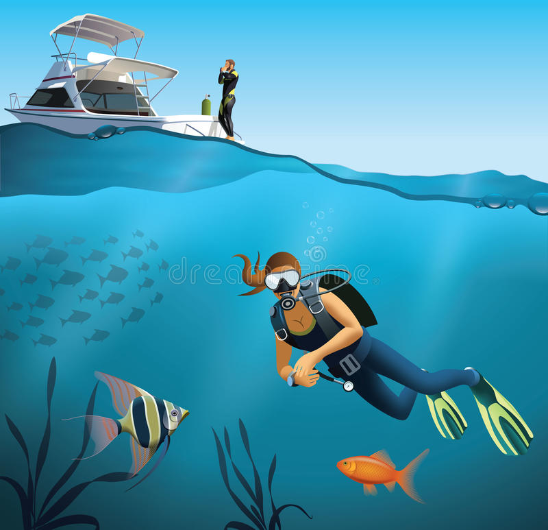 水下的世界和潜水场面 向量例证