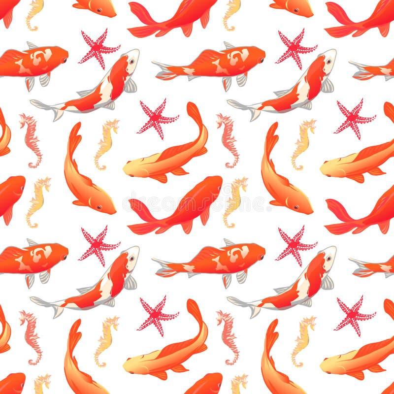 水下的世界无缝的传染媒介印刷品 Koi鲤鱼,海星, s 皇族释放例证