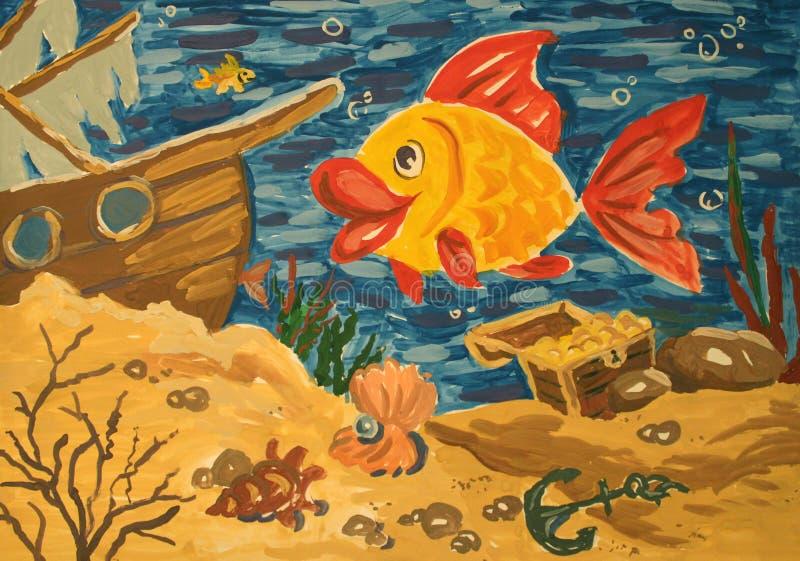 水下的世界树胶水彩画颜料绘画 库存例证