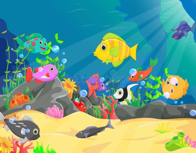 水下的世界的例证与珊瑚和热带鱼的 库存例证