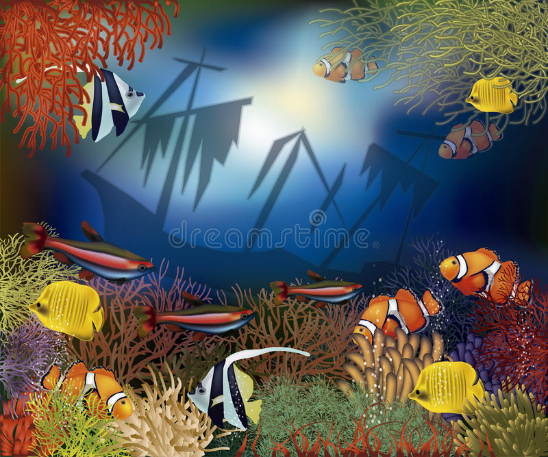 水下的世界盖子设计,传染媒介 向量例证