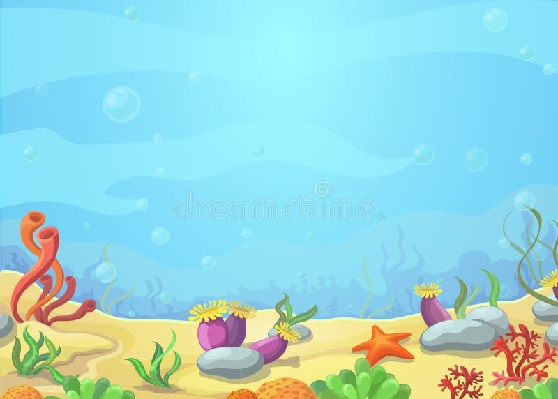 水下的世界蓝色海,海星,传染媒介例证 皇族释放例证
