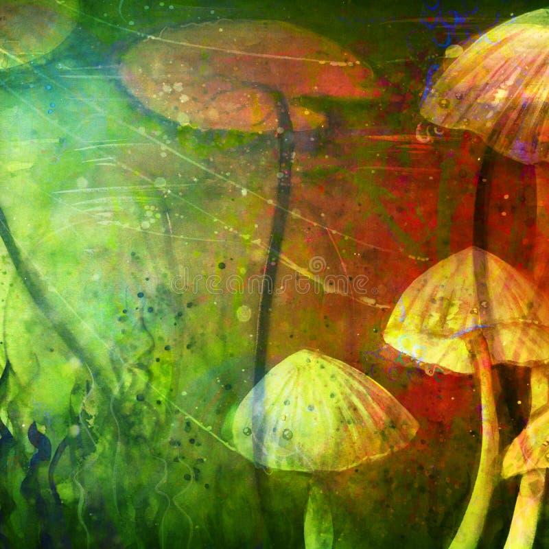 水下的抽象海草睡莲叶水彩 图库摄影